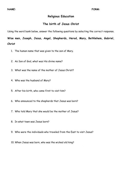 small resolution of Birth of Jesus Christ worksheet