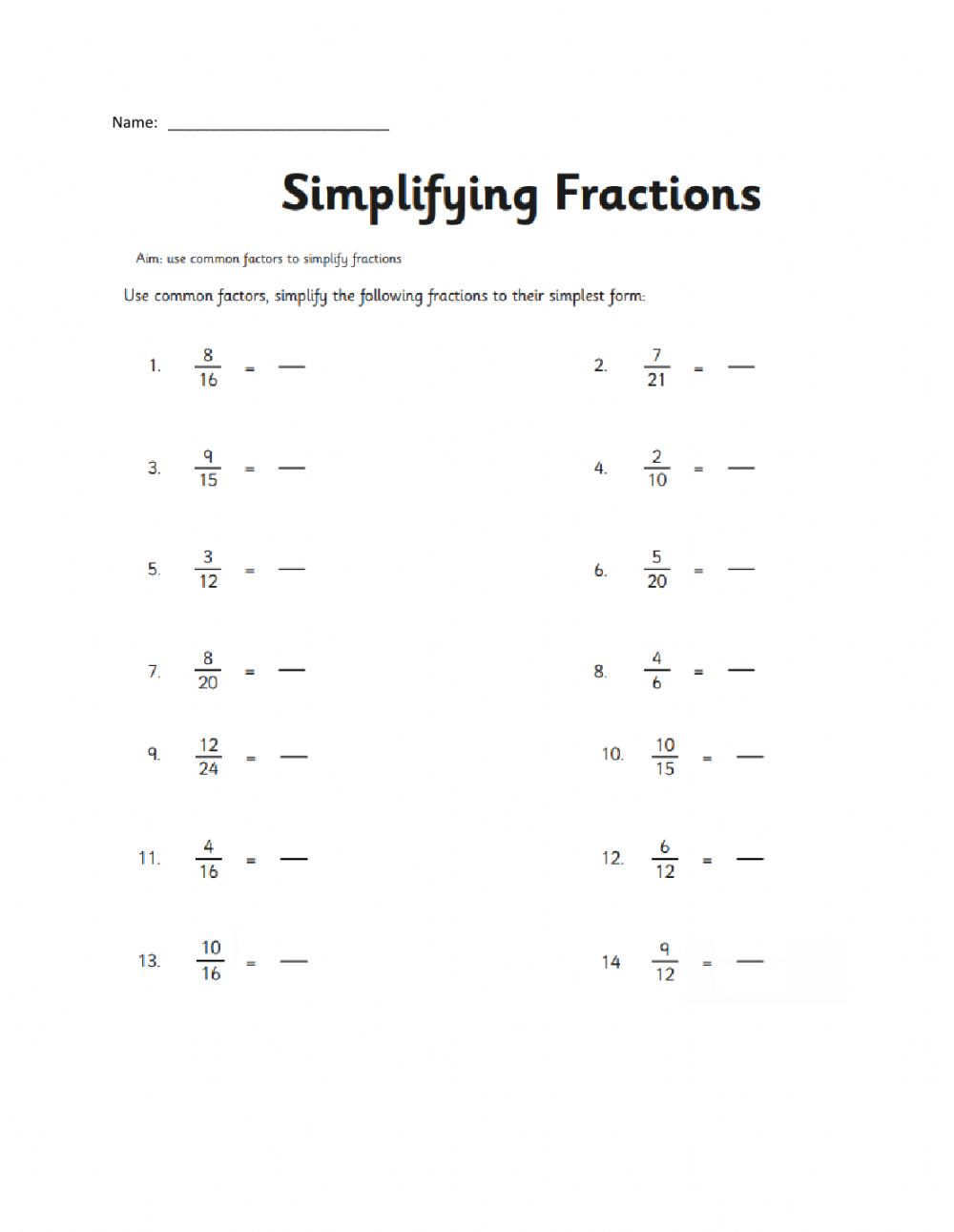 hight resolution of Simplifying Fractions activity