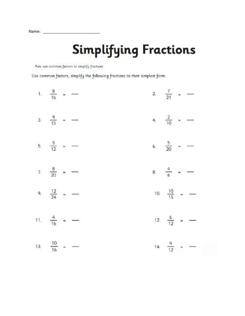 small resolution of Simplifying Fractions activity