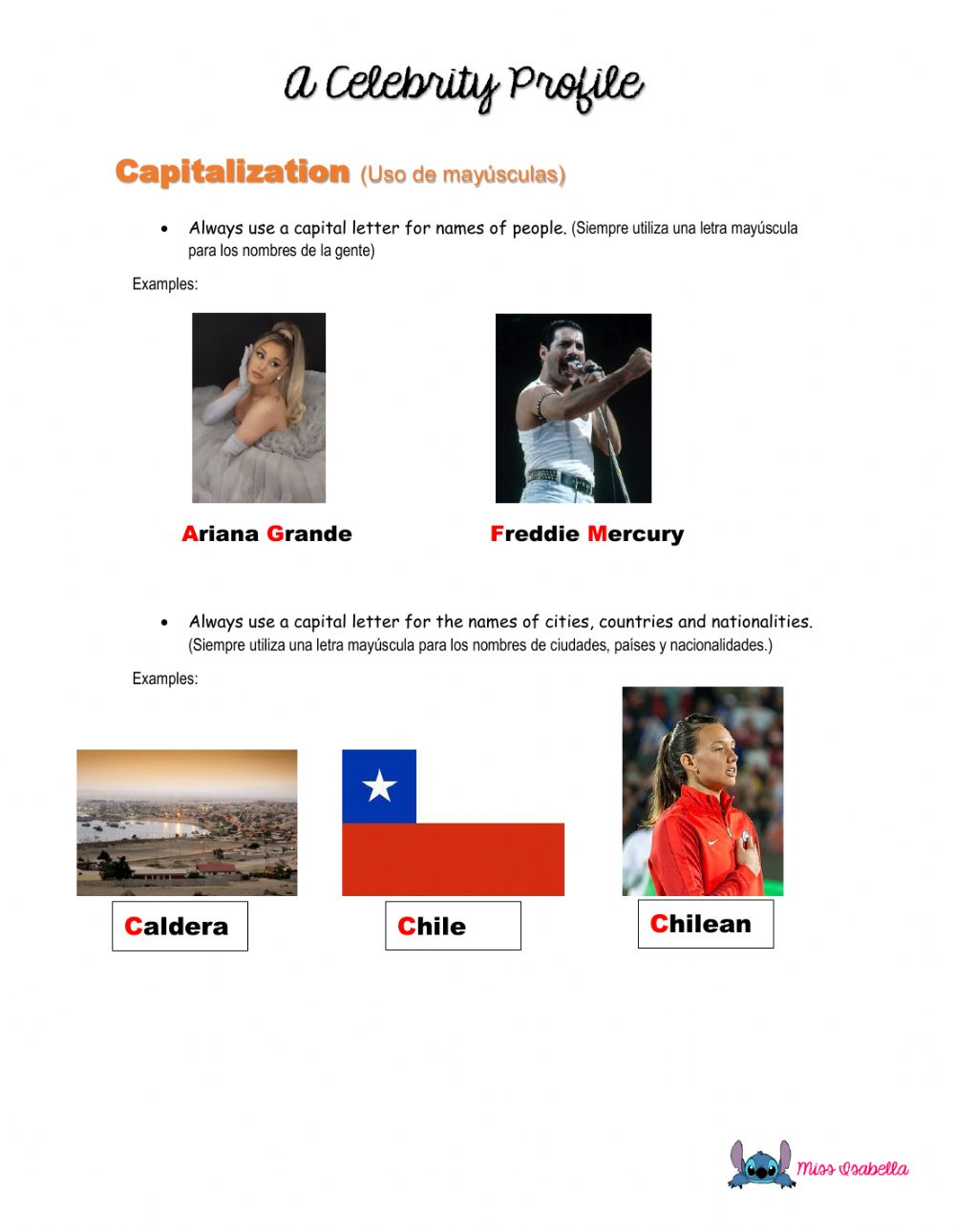 hight resolution of Capitalization exercise
