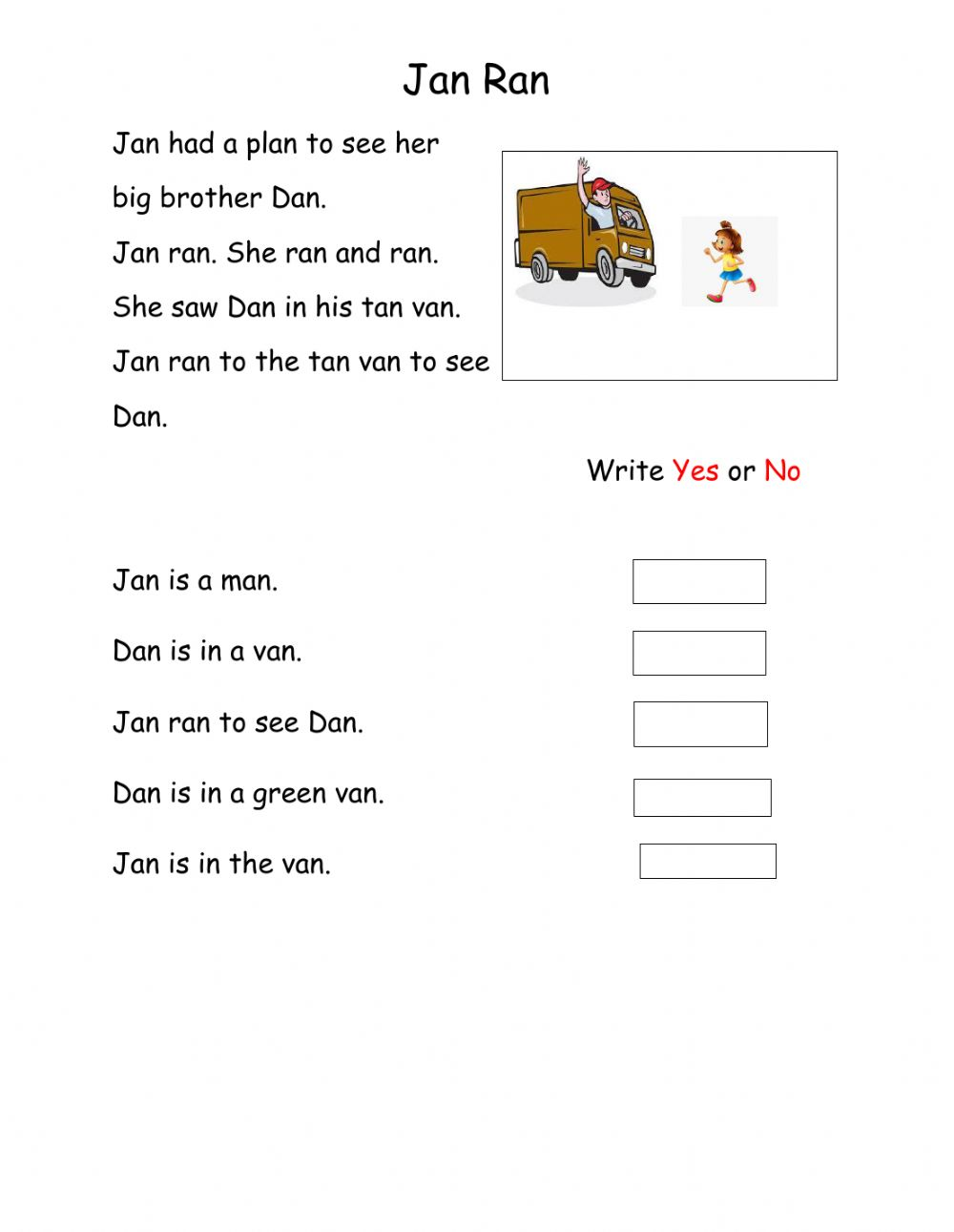 hight resolution of Reading Comprehension online exercise for grade 1