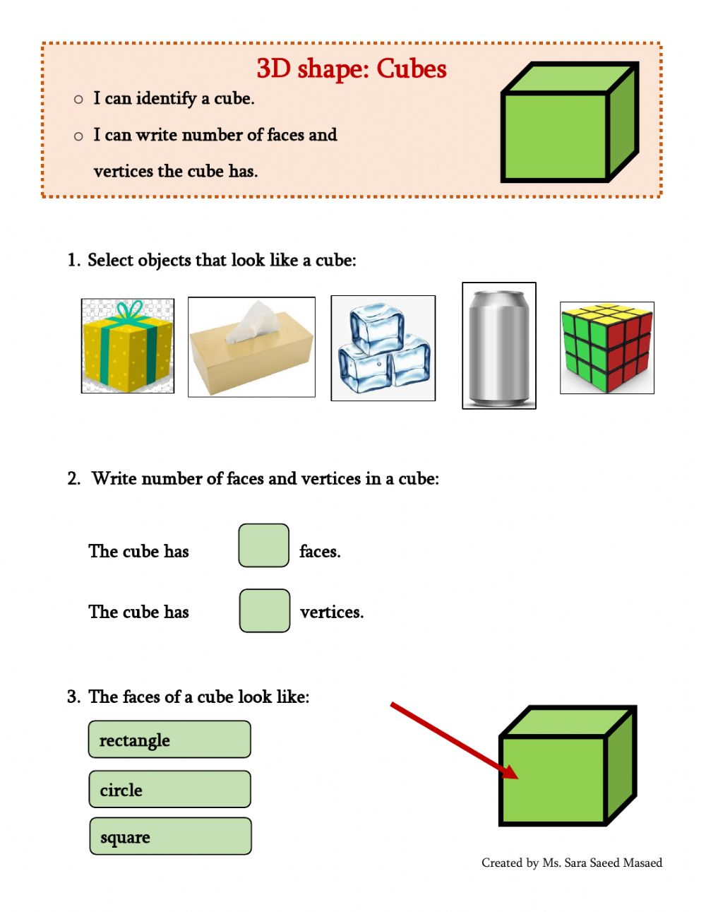 hight resolution of 3D Shapes: Cube worksheet