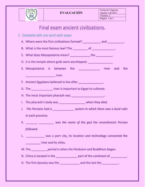 small resolution of Final exam ancient civilizations worksheet