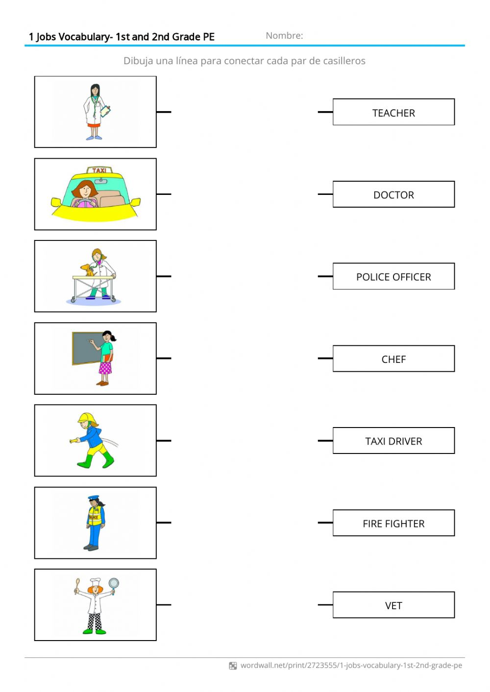 hight resolution of Jobs Vocabulary worksheet for 1st grade PE