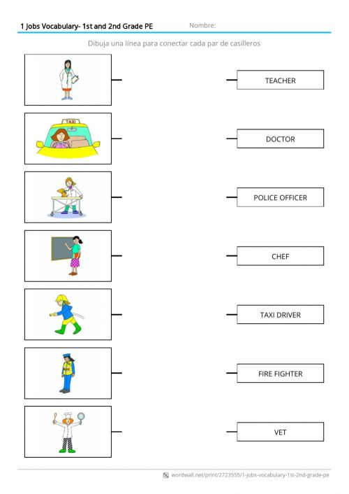 small resolution of Jobs Vocabulary worksheet for 1st grade PE