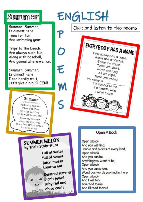 small resolution of English Poems worksheet