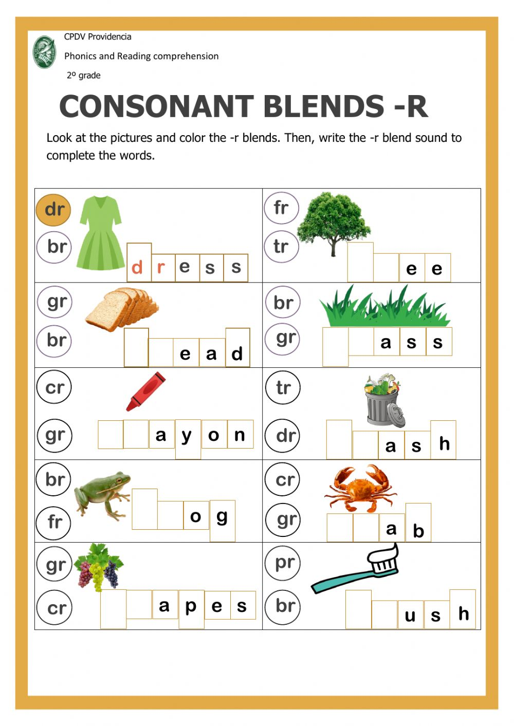 medium resolution of Consonant blends with -r interactive worksheet