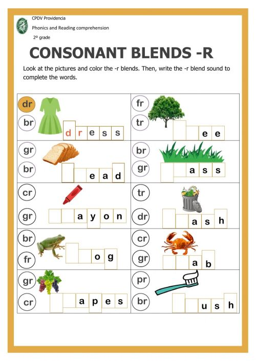 small resolution of Consonant blends with -r interactive worksheet