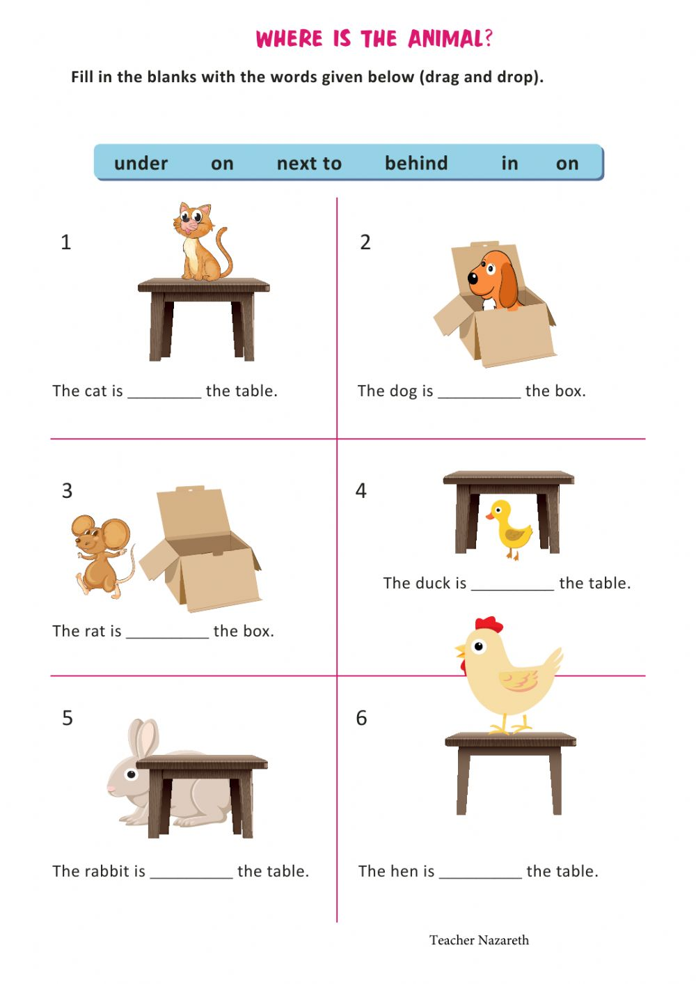 Basic prepositions of place worksheet