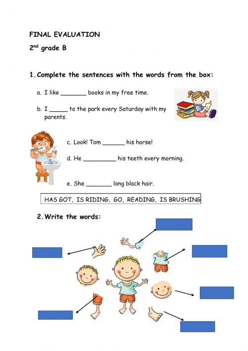 small resolution of Final Evaluation 2nd grade worksheet