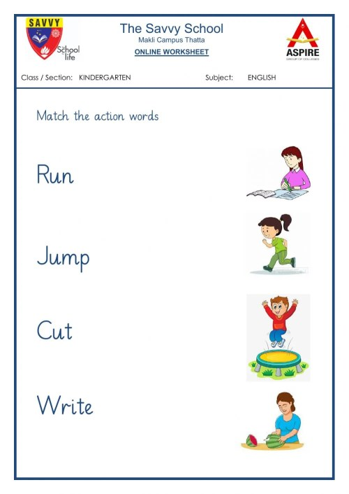 small resolution of Action Words online worksheet