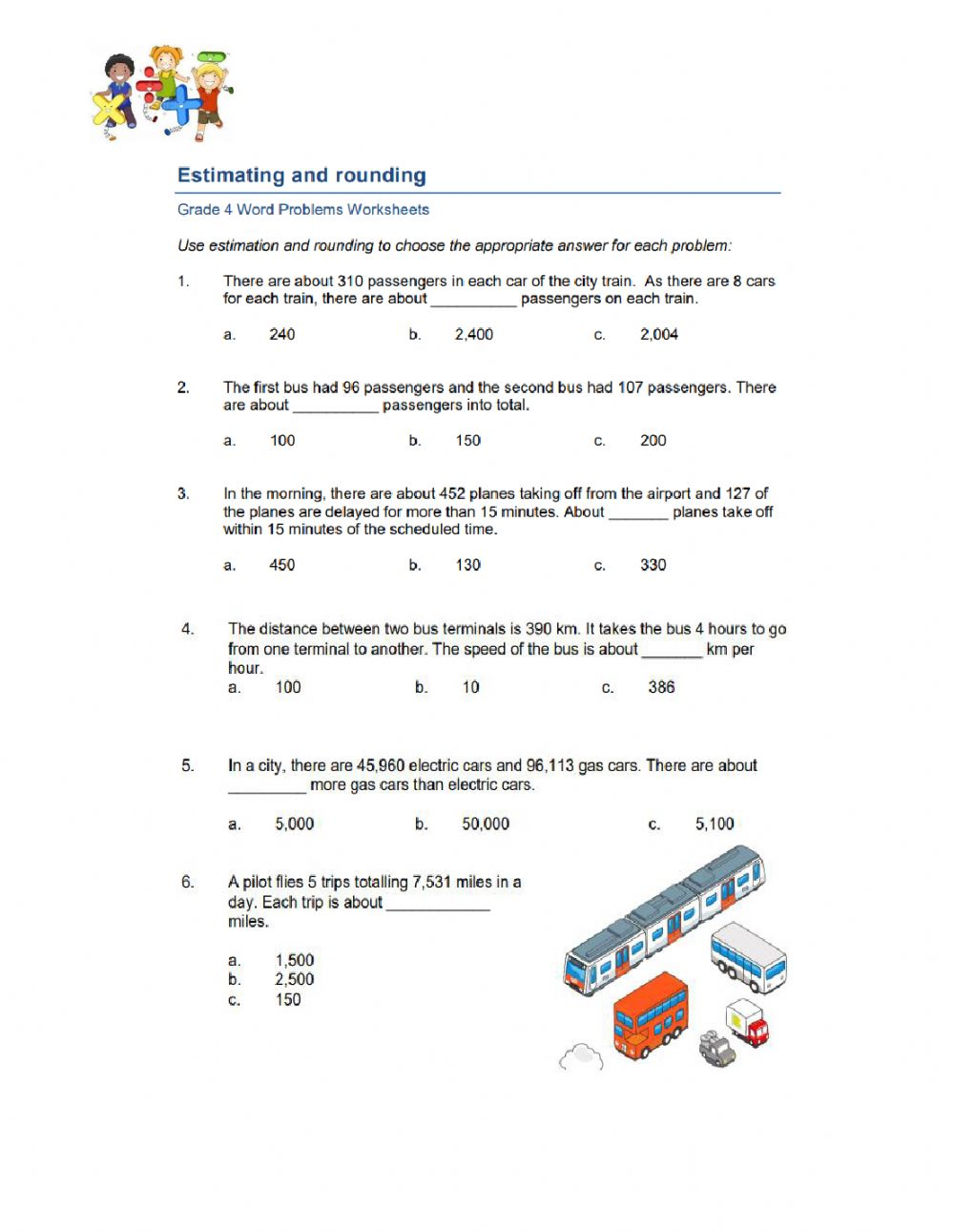 hight resolution of Estimating and Rounding Word Problem worksheet