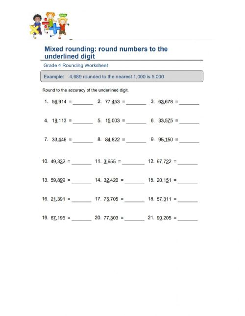 small resolution of Mixed Rounding: Round Numbers to the Underlined Digit worksheet