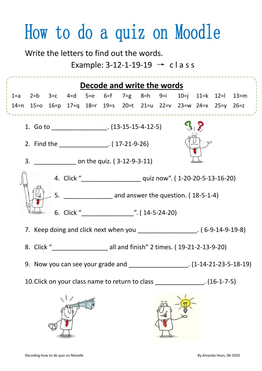 hight resolution of Decoding-how to do a quiz on moodle worksheet