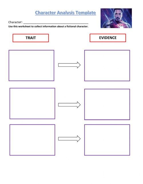 small resolution of Character Analysis Template worksheet