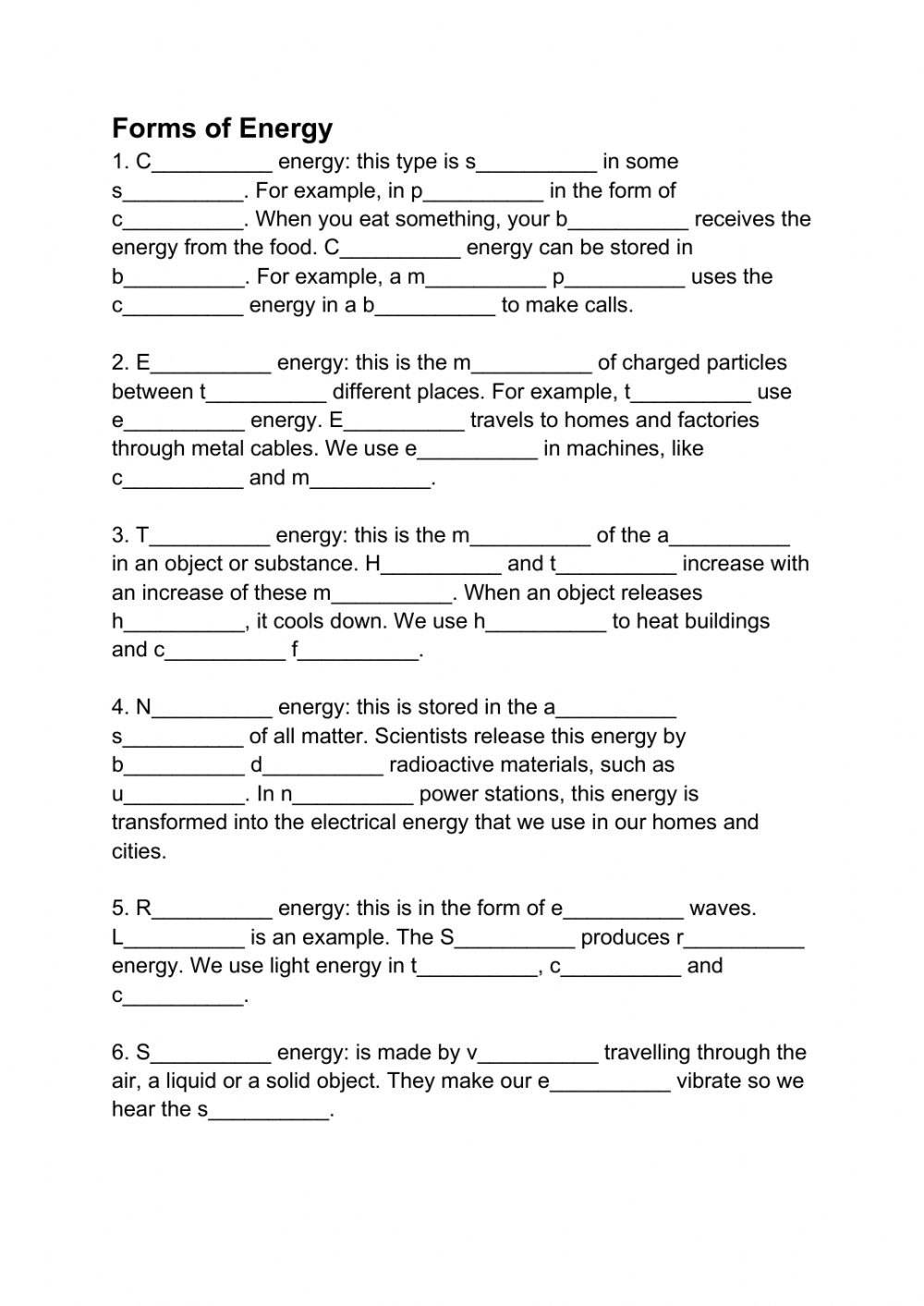 medium resolution of Forms of Energy online activity