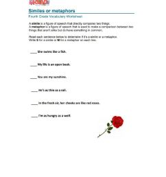 Simile And Metaphor Activity Sheet Answers [ 1291 x 1000 Pixel ]