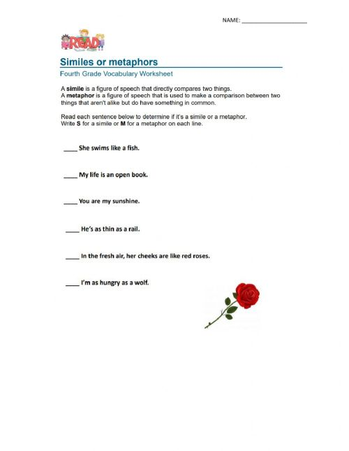 small resolution of Simile And Metaphor Activity Sheet Answers