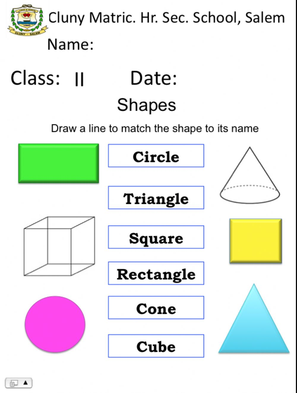 hight resolution of Shapes interactive exercise for Grade 2