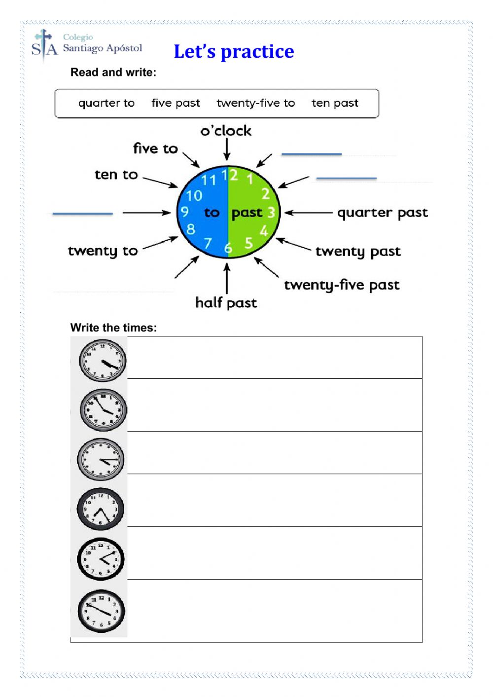 hight resolution of The Time online pdf worksheet for Grade 5
