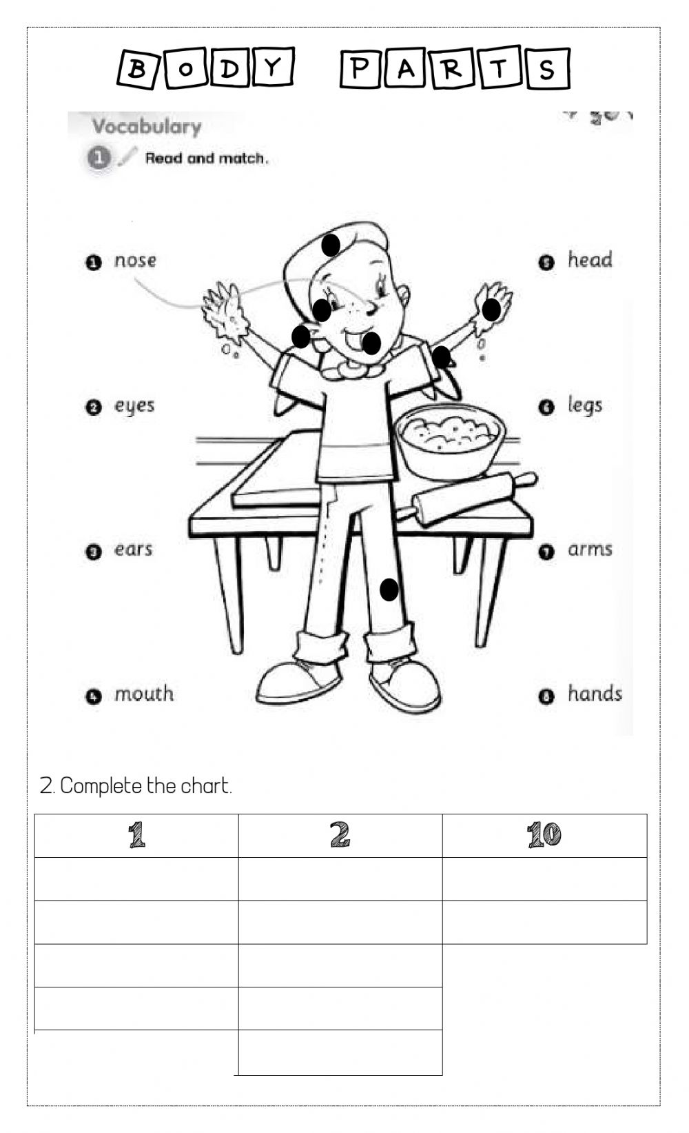 Body parts online exercise for kids