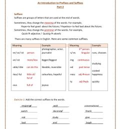 Introduction to Prefixes and Suffixes 2 worksheet [ 1291 x 1000 Pixel ]