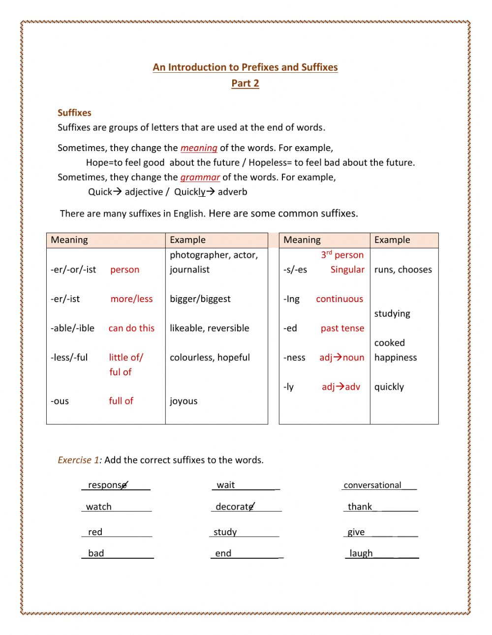 medium resolution of Introduction to Prefixes and Suffixes 2 worksheet