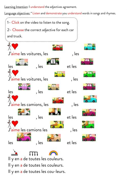 small resolution of The adjectives agreement worksheet