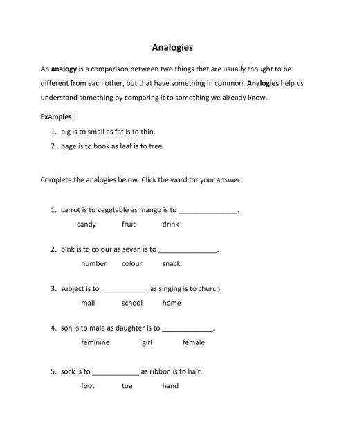 small resolution of Analogies worksheet