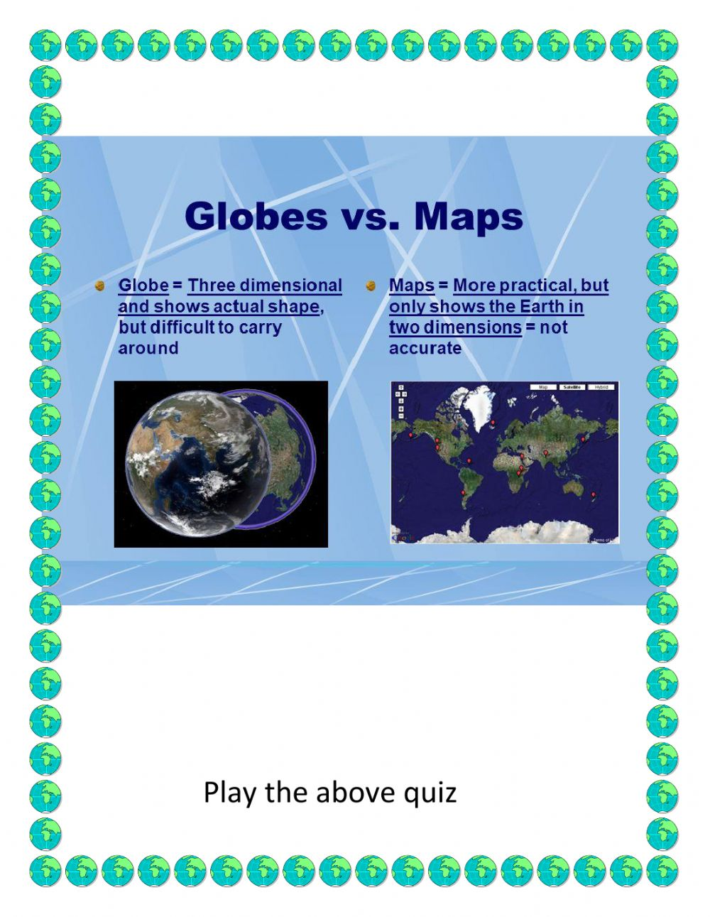 medium resolution of Maps And Globes worksheet