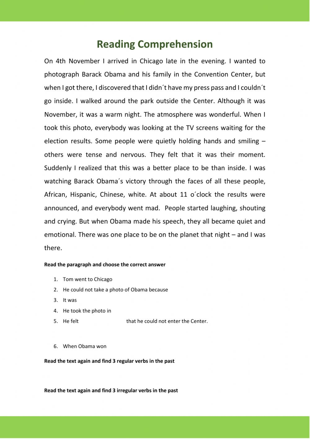 hight resolution of Reading Comprehension (Past Continuous) worksheet