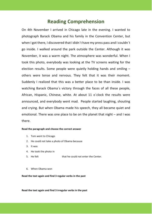small resolution of Reading Comprehension (Past Continuous) worksheet