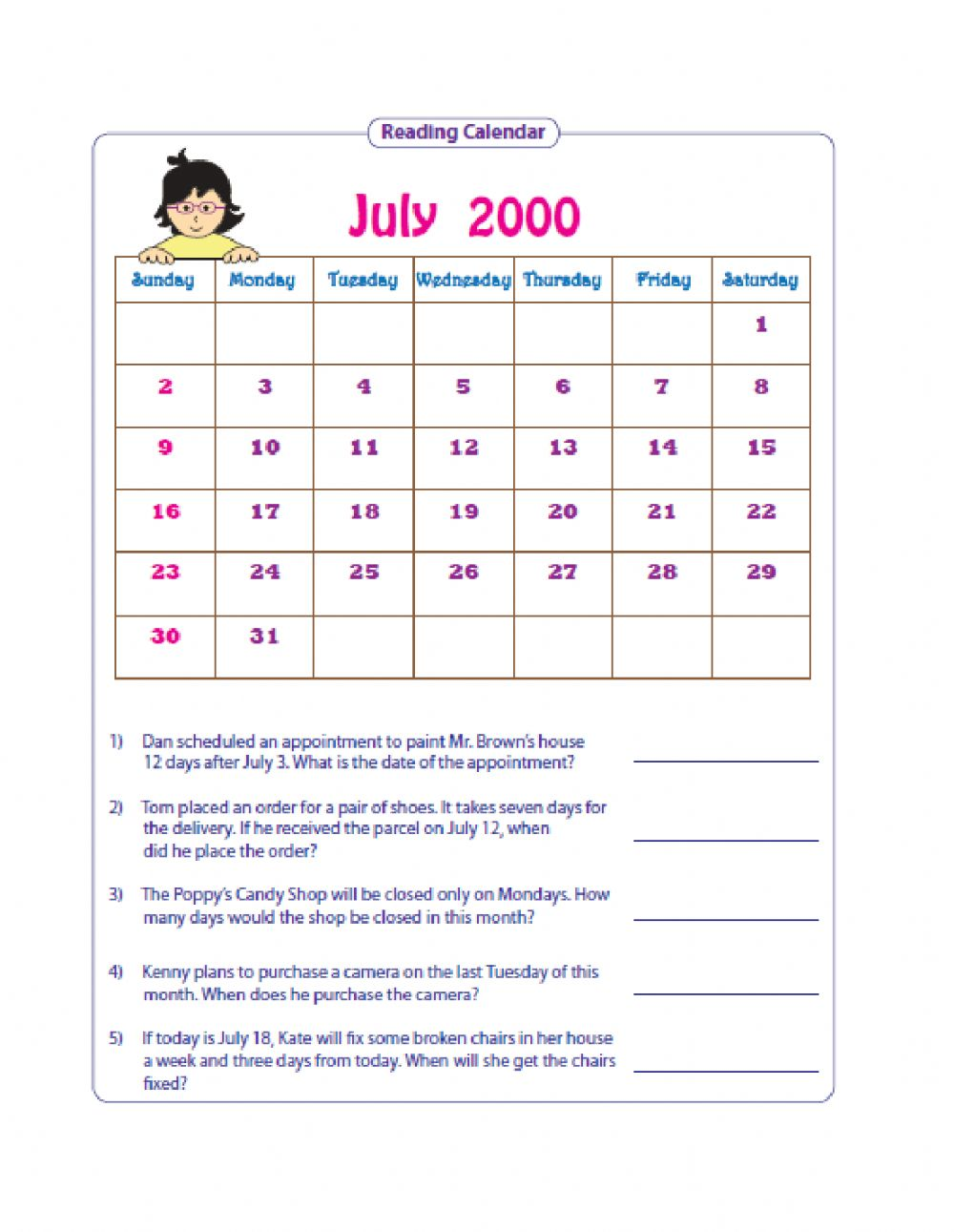 hight resolution of Reading Simple Timetables and Using Calendars worksheet
