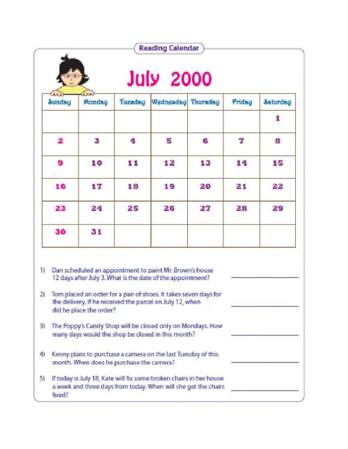 small resolution of Reading Simple Timetables and Using Calendars worksheet