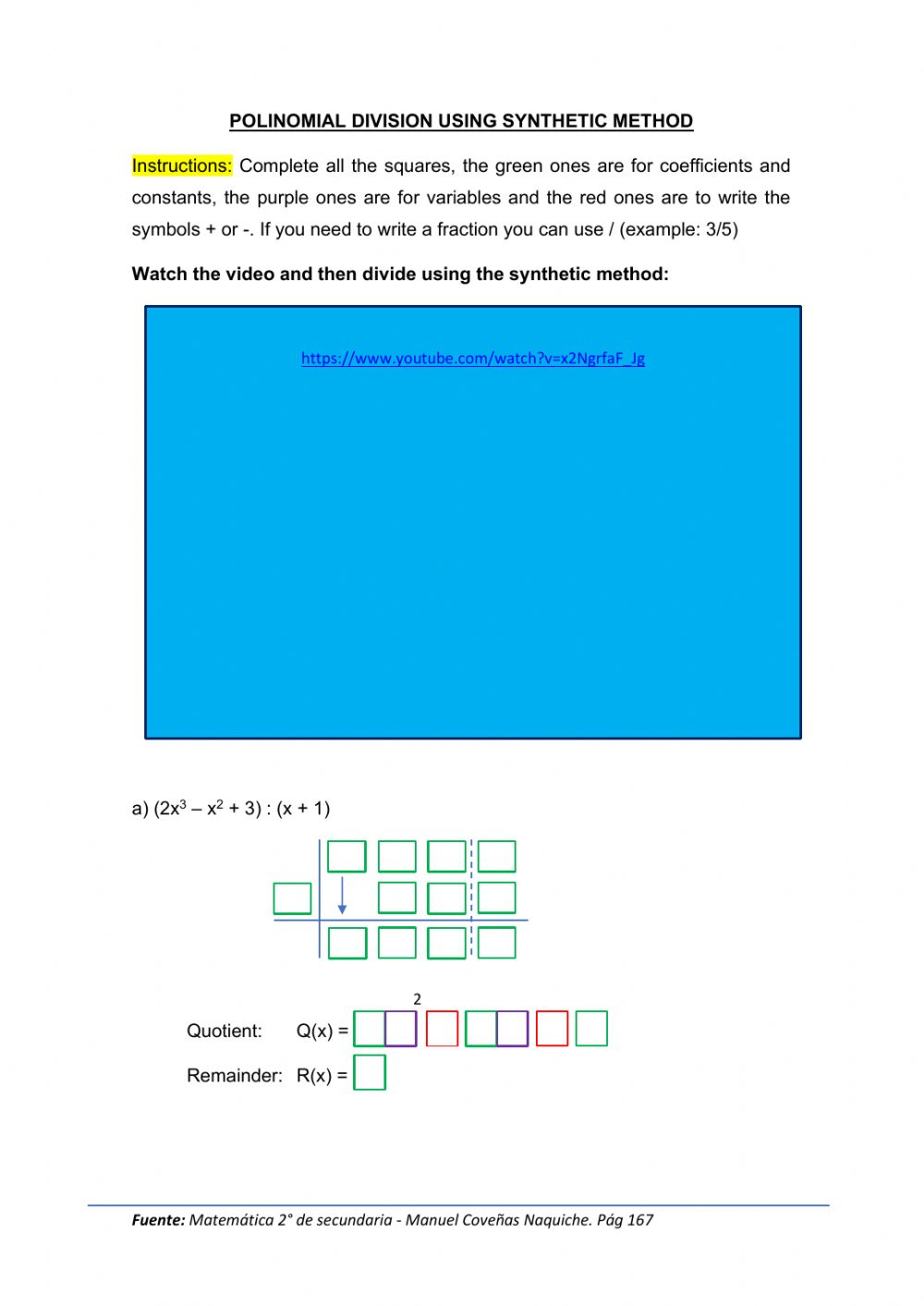 hight resolution of Synthetic division with polynomials worksheet