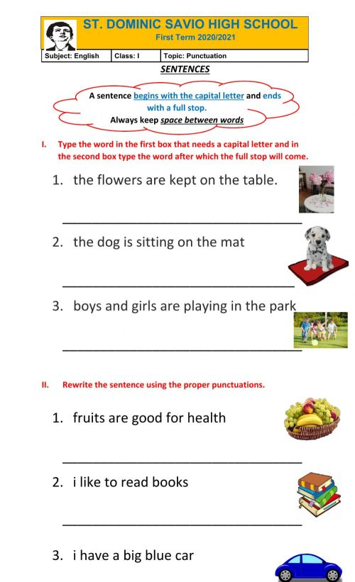 small resolution of Punctuation worksheet for Grade 161