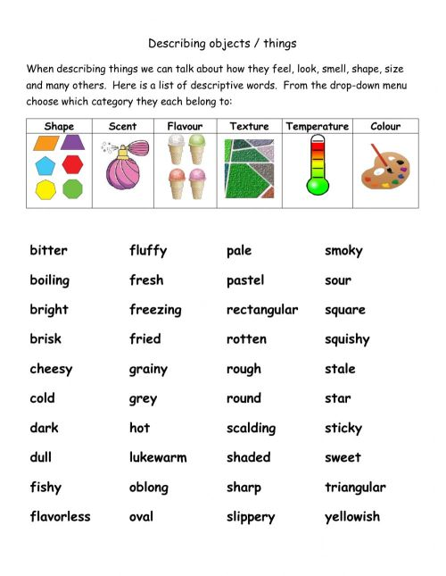 small resolution of Describing Objects - adjectives worksheet