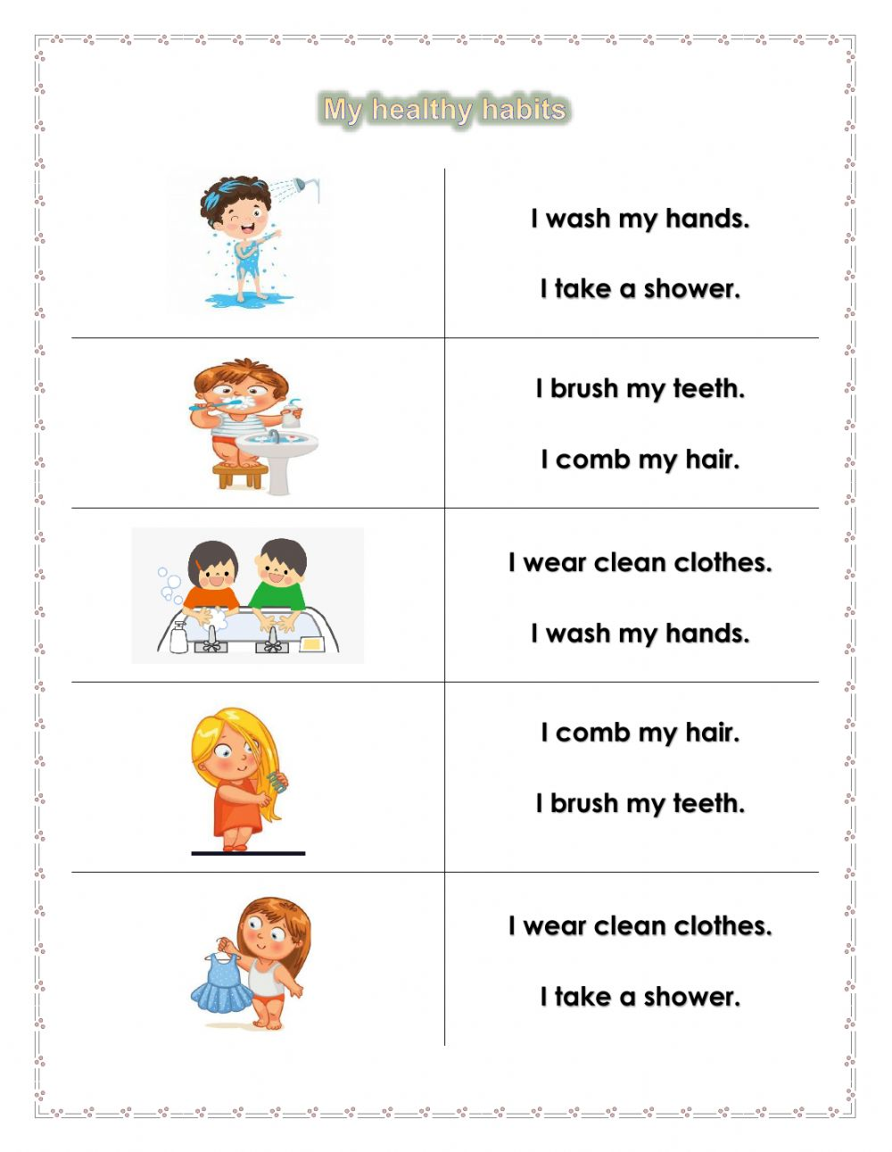 hight resolution of Personal Hygiene online worksheet