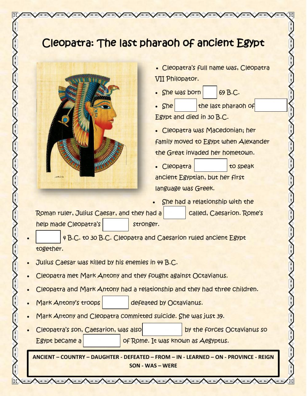 hight resolution of Cleopatra interactive worksheet