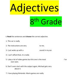 Adjectives 8th grade worksheet [ 1291 x 1000 Pixel ]