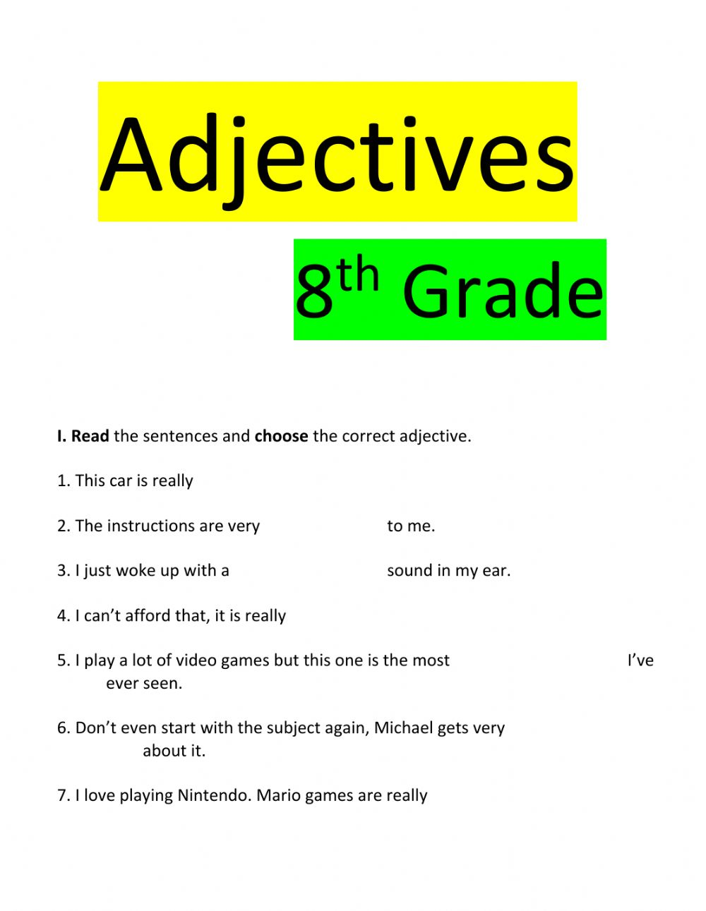 medium resolution of Adjectives 8th grade worksheet
