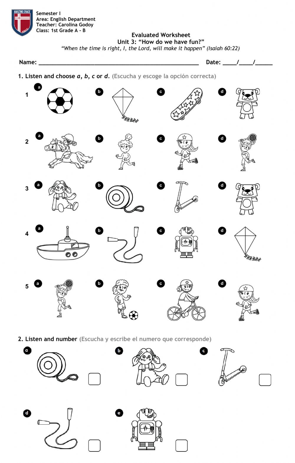 hight resolution of 1st Grade Unit 3 - Toys and activities worksheet
