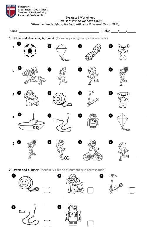 small resolution of 1st Grade Unit 3 - Toys and activities worksheet