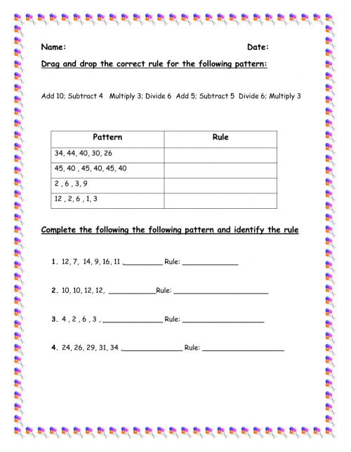 small resolution of Numeric Pattern 2 worksheet
