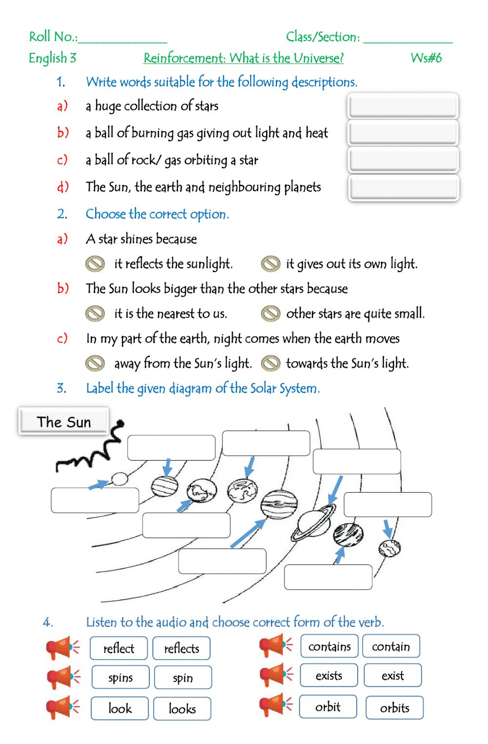 medium resolution of The Solar System exercise for Grade 3