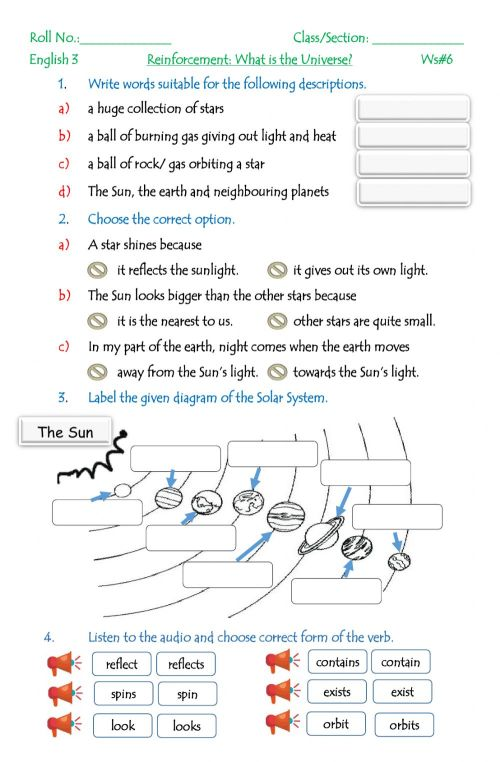 small resolution of The Solar System exercise for Grade 3