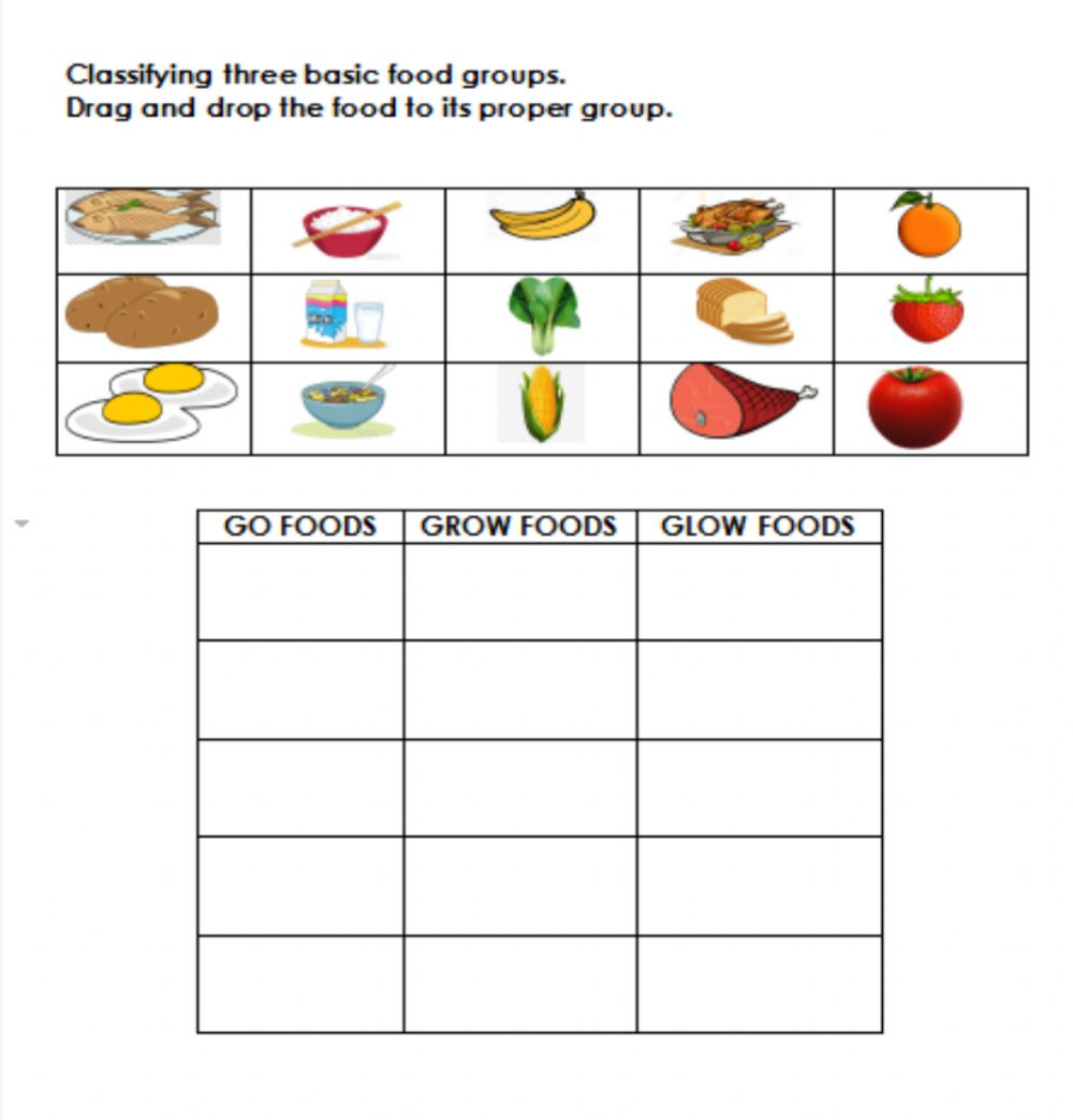 hight resolution of Basic Food Groups worksheet