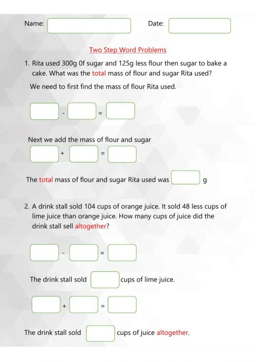 small resolution of Two step word problems worksheet