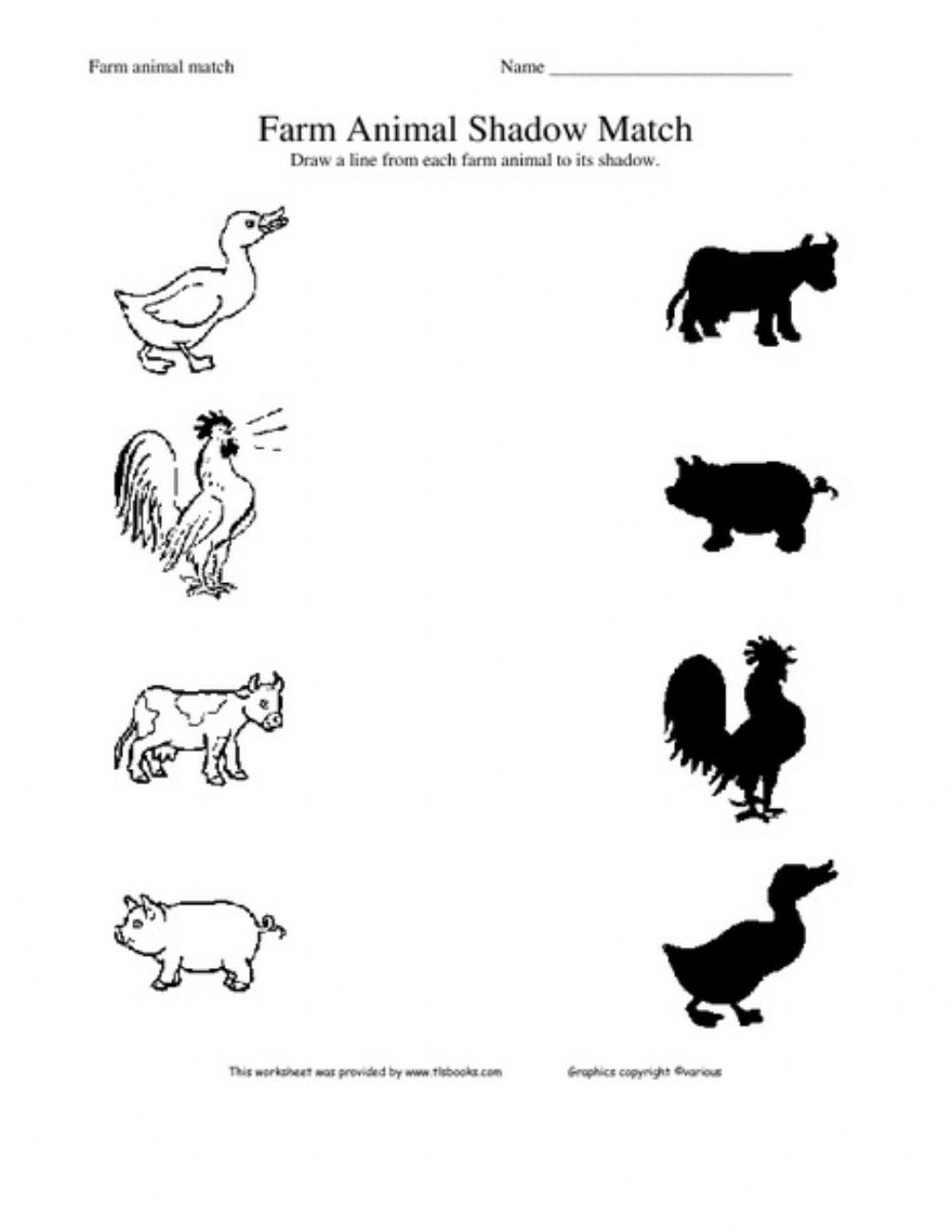 medium resolution of Match the animal with its shadow worksheet