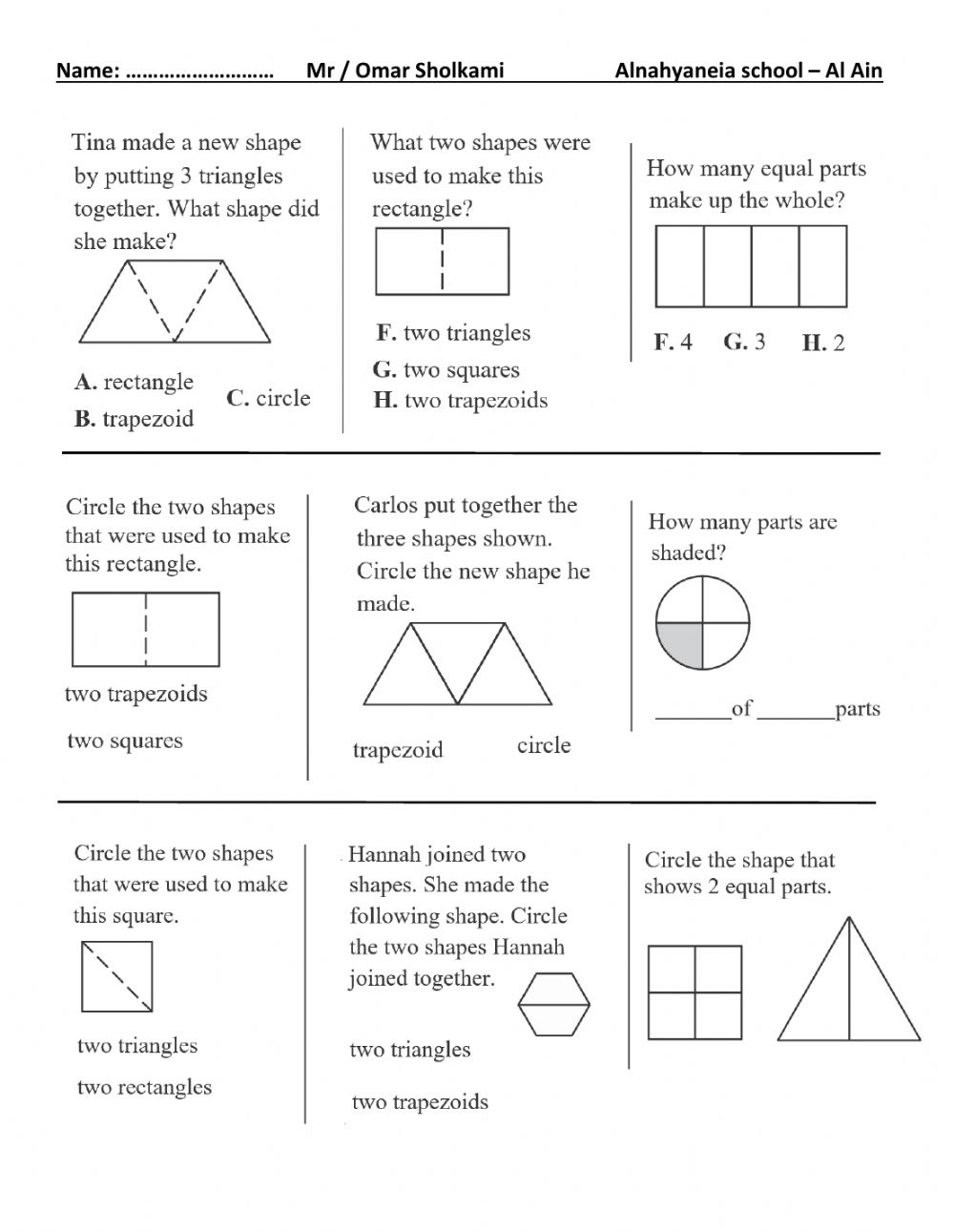 hight resolution of 2d shapes and equal shares grade 1 worksheet